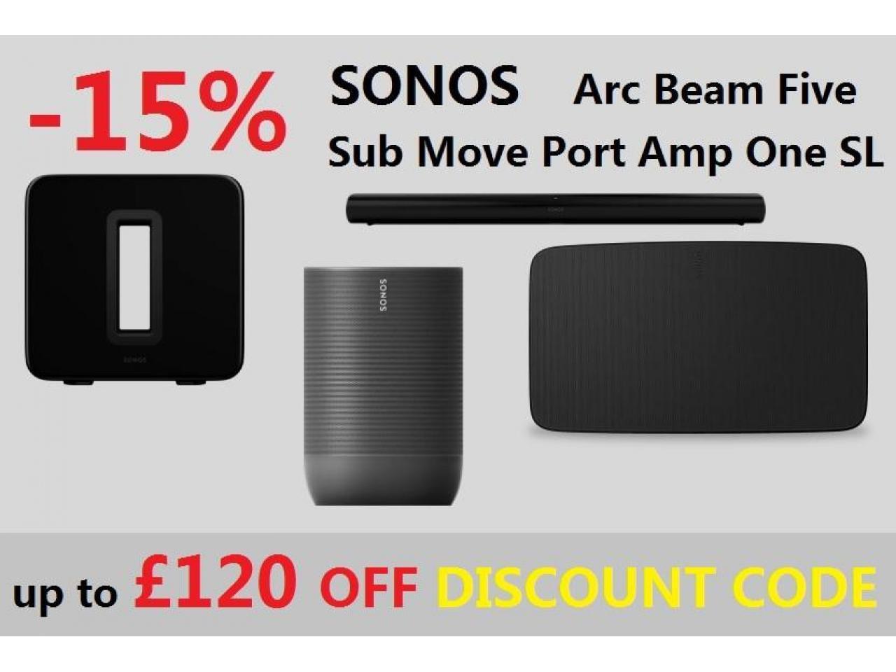 Купон на скидку - 15% для музыкальной техники Sonos UK store - 1