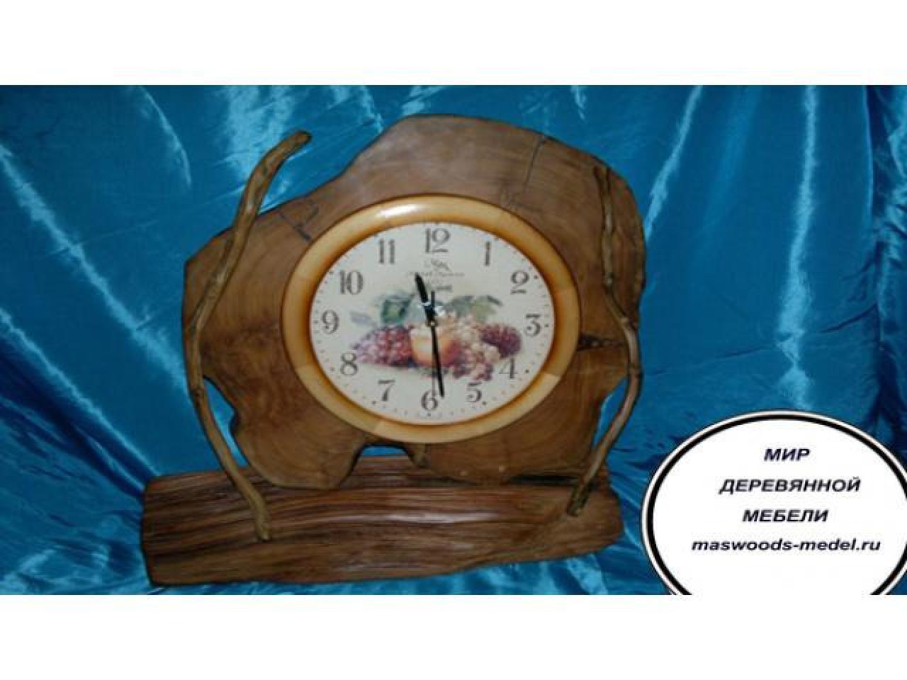 Часы из можжевельника тополя ручной работы - 3