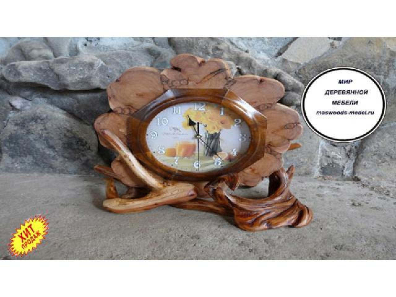 Часы из можжевельника тополя ручной работы - 5