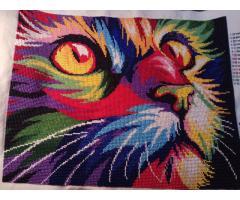 """Картина вышита бисером """"Радужный кот"""" ручная работа - Image 1"""